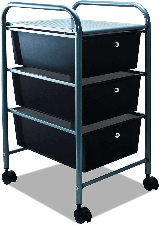 ADVANTUS 3-Drawer Rolling File Organizer Cart, 27 x 15.5 x 13 Inches, Black 34006