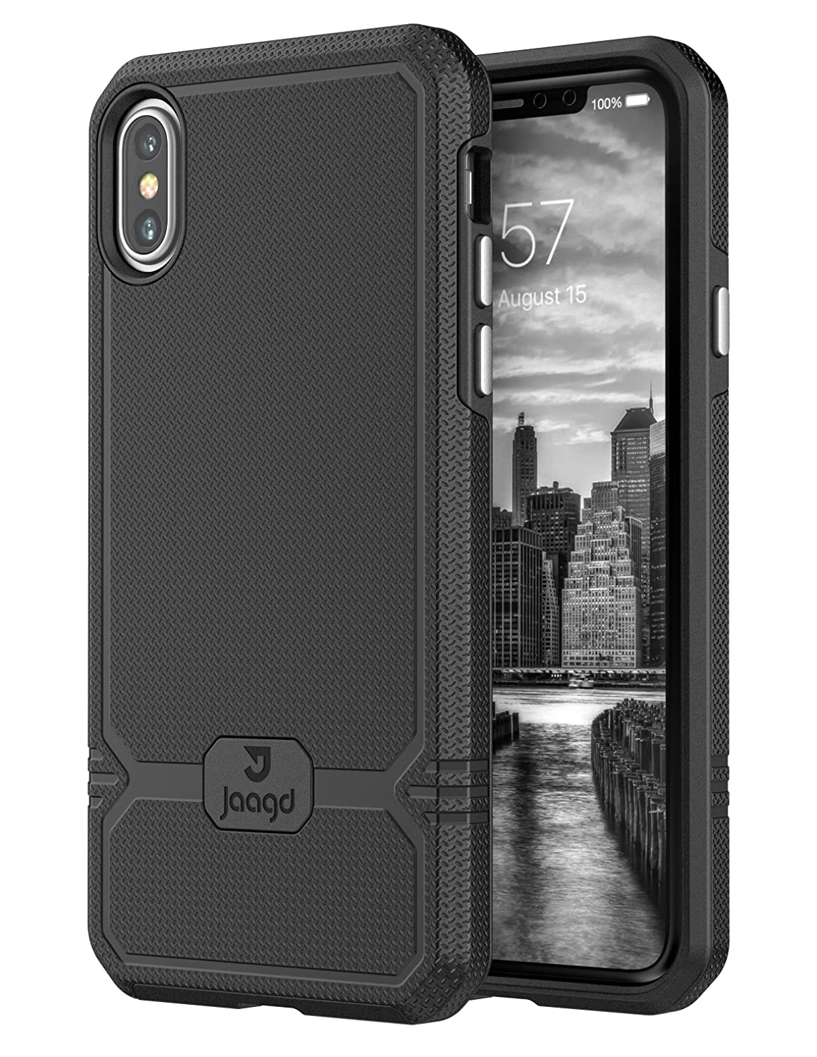 Jaagd iPhone X Case, iPhone 10 Case, Slim Shock-absorbing Modern Slim Non-slip Grip Cell Phone Case (Black)