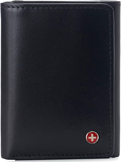 Alpine Swiss Leon Mens RFID Blocking Trifold Wallet Smooth Leather Comes in Gift Box Black: Amazon.ca: Luggage & Bags