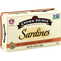 Crown Prince Sardines in Louisiana Hot Sauce, 4.25-Ounce Cans (Pack of 12)
