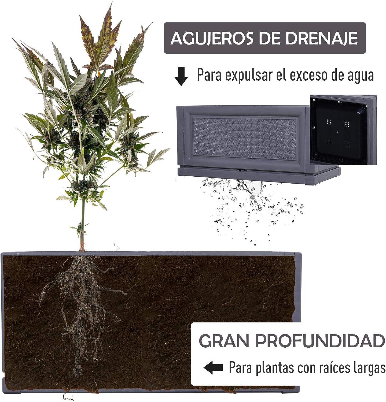 Outsunny Maceta para Flores Jardinera Plástica Rectangular con ...