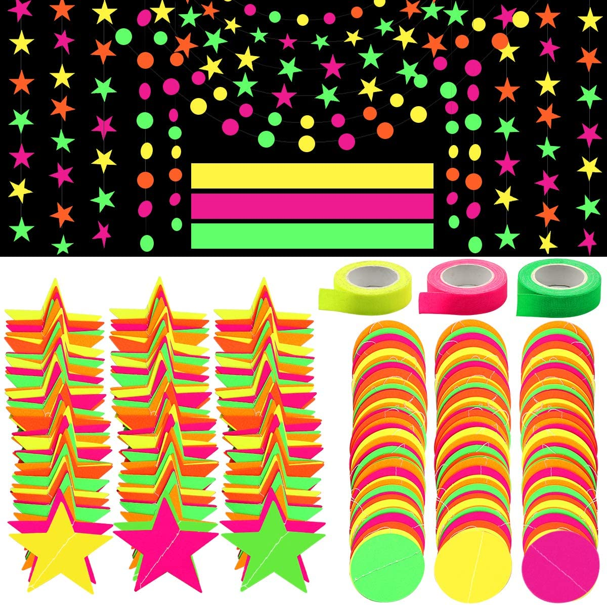 Black Light Party Supply, ZALALOVA 135.6ft Black Light Neon Star Circle Dots Tapes Banner Hanging Decorations Glow in the Dark Reactive UV Light for Party Birthday Christmas Night Decorations (9 Pack)