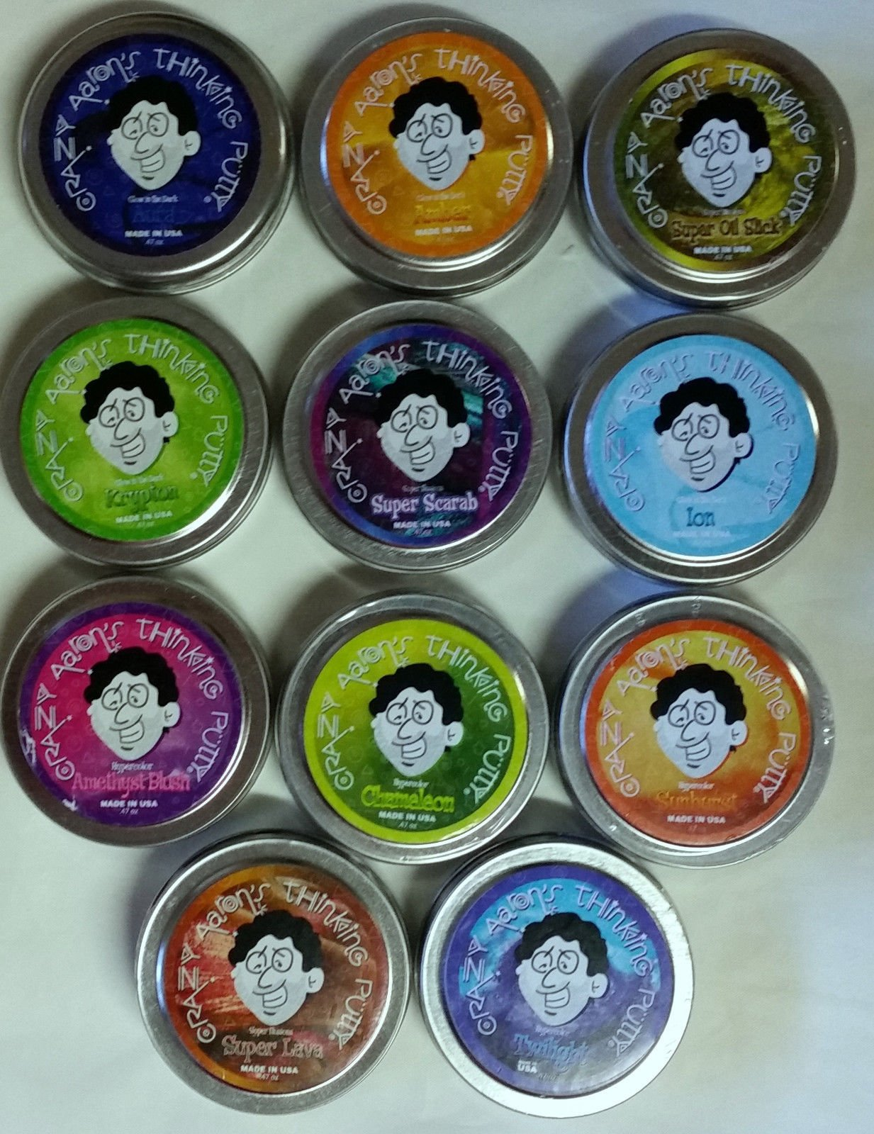 Crazy Aaron's Thinking Putty Mini Tin Complete Bundle Gift Set 11 Pack 2'' tins, Made in The USA, Age 3+ by Crazy Aron's Thinking Putty (Image #1)
