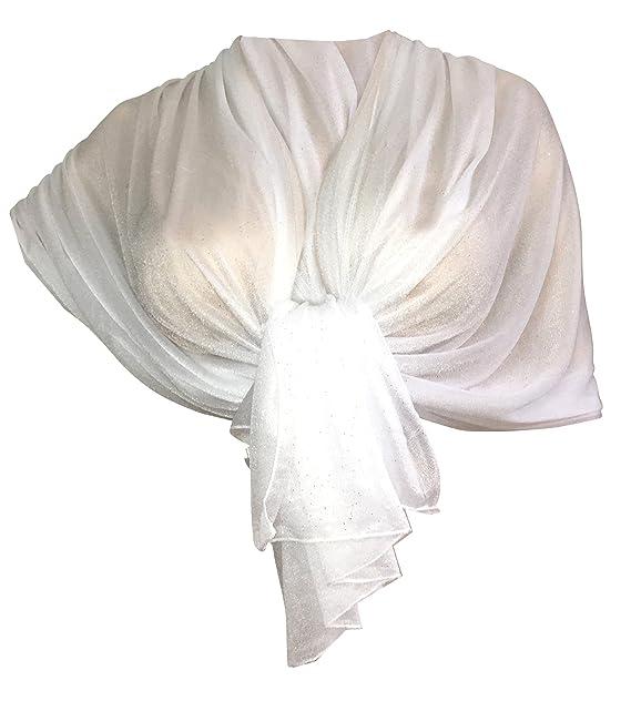 5436d093b Elegante SCIARPA Glitter Brillante Foulard,da Donna Coprispalle Stola in 10  Colori (bianco)