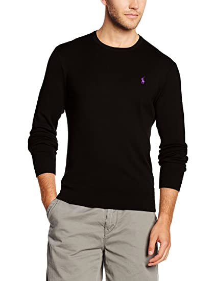 afcb9be35e97 Polo Ralph Lauren Men s LS SF CN PP Sports Jumper, (Polo Black), Large   Amazon.co.uk  Clothing