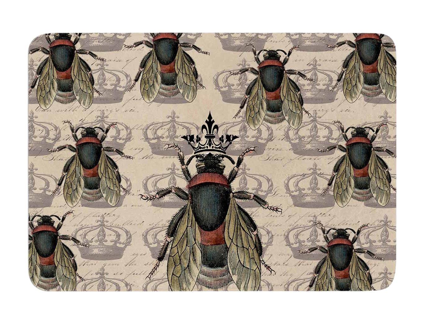 Kess InHouse Suzanne Carter Queen Bee Black Tan Memory Foam Bath Mat, 17 by 24-Inch, 17' X 24'