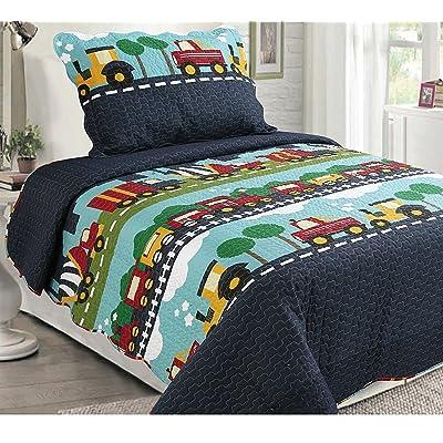 Golden Linens Quilt Bedspread Navy Blue Trucks (28) (Twin): Home & Kitchen
