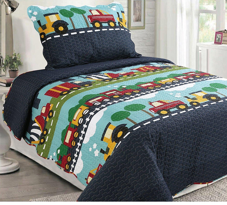 Golden Linens Twin Size 2 Pieces Quilt Bedspread Set Kids New Designs for Boys & Girls (Navy Blue Trucks (28))