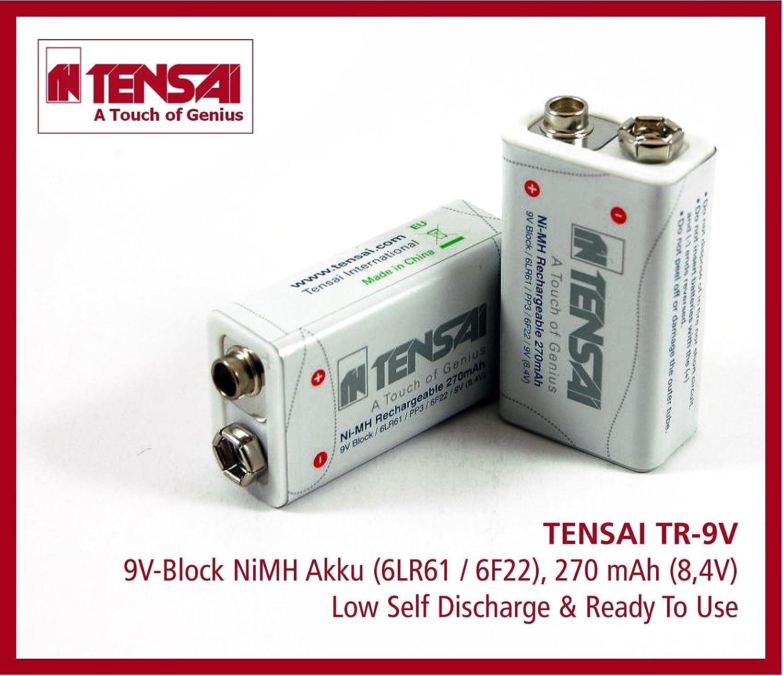 Tensai 9,6V Block 6LR61 6F22 PP3 9 Volt Akku Ni-MH aufladbare Batterien 270 mAh
