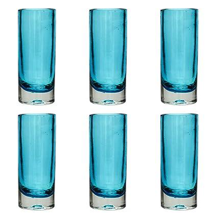 Vaso de Chupito/Tequila Artesanal – Vidrio Reciclado – Turquesa – Juego de 6