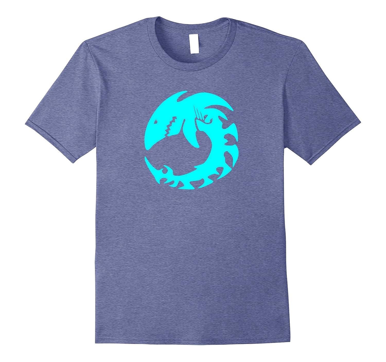 Aqua Colored Shark Skeleton Native Animal Folk Art T Shirt Th Teehelen