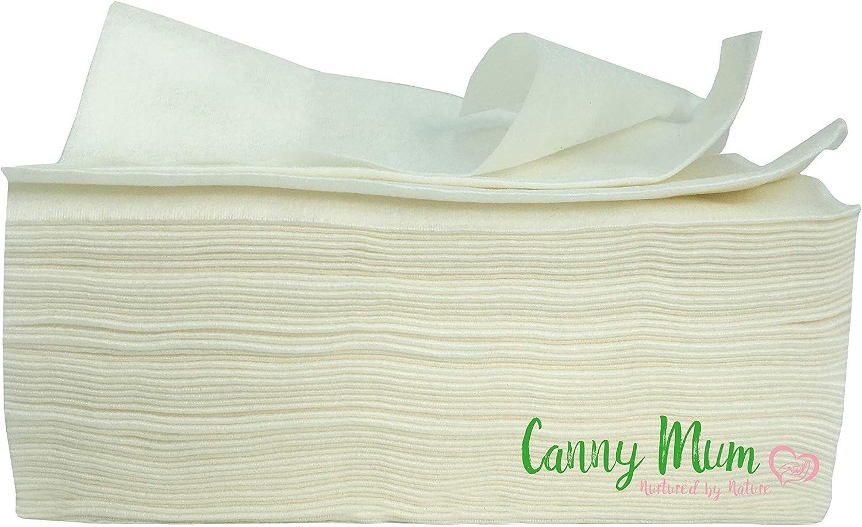 CannyMum Toallitas de Bamb/ú para Beb/és Toallitas secas o h/úmedas caseras 400 toallitas Fabricada en bamb/ú de cultivo org/ánico. Biodegradable y desechable
