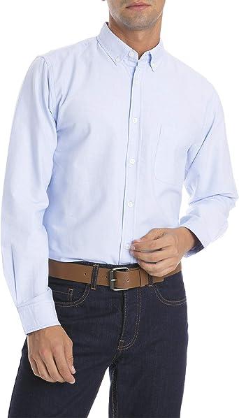 MO Camisa Oxford Hombre - Azul Claro - Talla S: Amazon.es: Ropa y accesorios