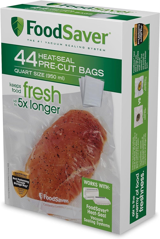 FoodSaver FSFSBF0226-FFP 1-Quart Precut Heat-Seal Bags, 44 Count, Clear