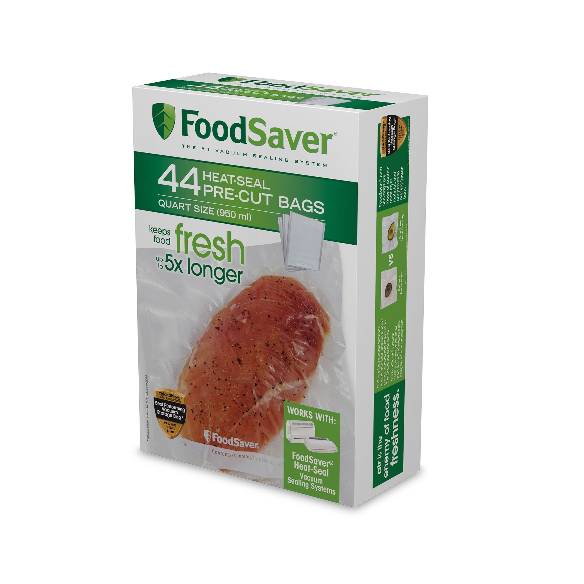 FoodSaver 1-Quart Precut Vacuum Seal Bags with BPA-Free Multilayer Construction for Food Preservation, 44 Count by FoodSaver
