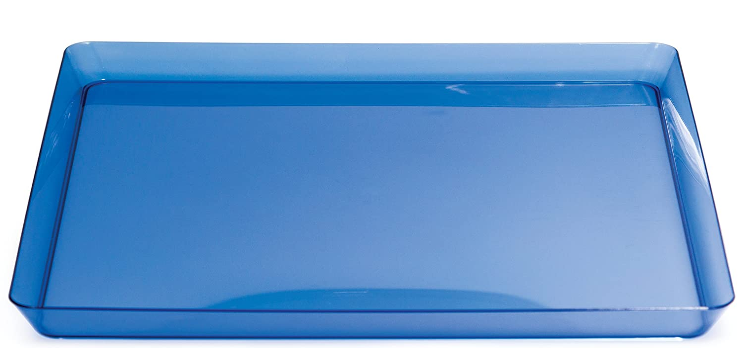 Creative Converting Square Plastic Serving Tray, 11.5-Inch, Translucent Blue 173428