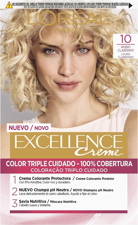 LÓreal Paris Excellence Crema Color Triple Cuidado Avanzado, Tono Rubio Muy Claro 10 - 172 g