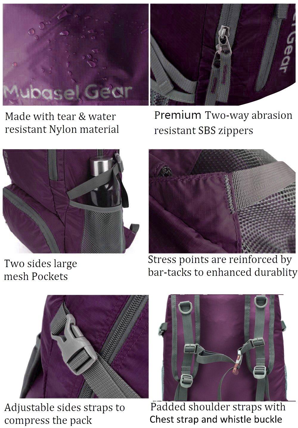 Mubasel Gear Backpack - Lightweight Backpacks for Travel Hiking - Daypack for Women Men (Purple) by Mubasel Gear (Image #3)