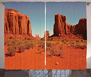 Ambesonne Desert Curtains, Sunny Hot Day Monument Valley Arid Country Primitive Nation Arizona USA, Living Room Bedroom Window Drapes 2 Panel Set, 108