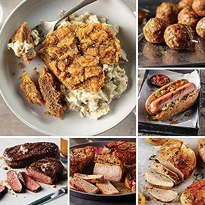 Ribeye Family Feast from Omaha Steaks (Chicken Fried Steaks, Ribeyes, Boneless Pork Chops, Boneless Chicken Breasts, Gourmet Jumbo Franks, All-Beef Meatballs, Individual Scalloped Potatoes, and more)