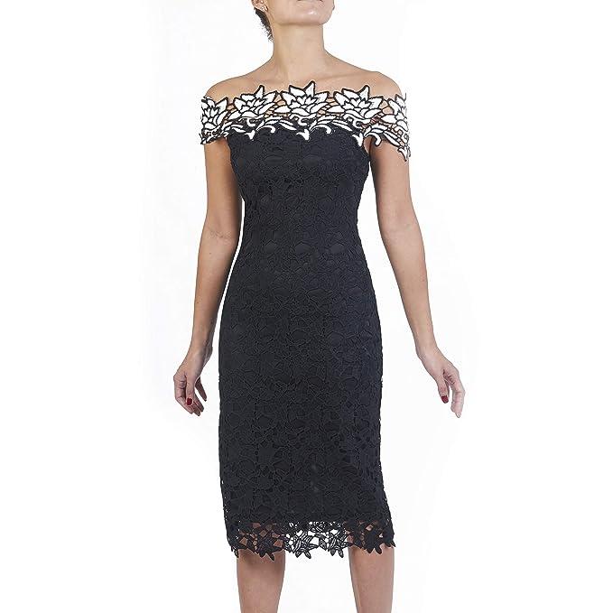 72de3c675 cklass Vestido Crochet Hombros Descubiertos Multi S: Amazon.com.mx ...