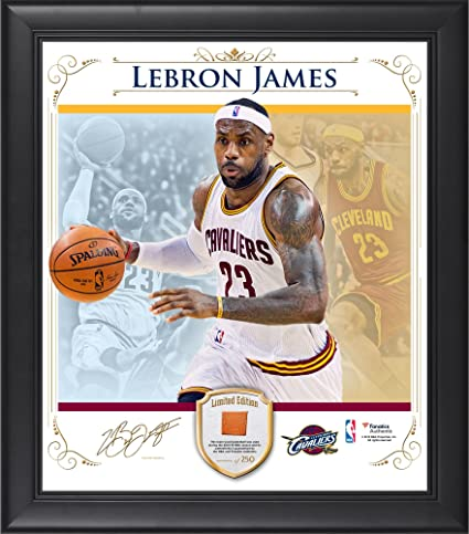 f59f5944db3 LeBron James Cleveland Cavaliers Framed 15 quot  x 17 quot  Photo Collage  with Team Used Basketball