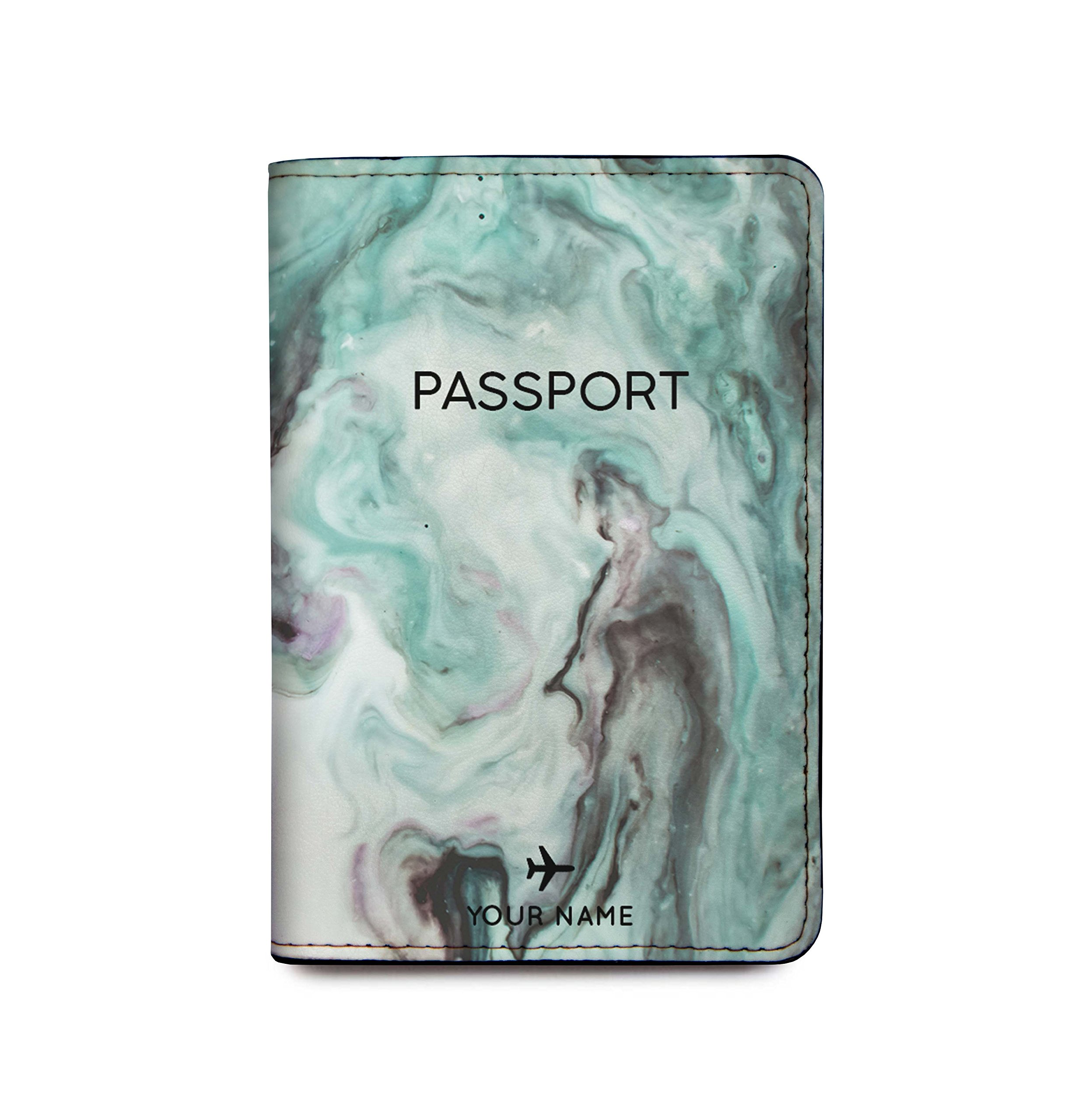 Personalized RFID Blocking Leather Passport Holder - Marble Passport Cover