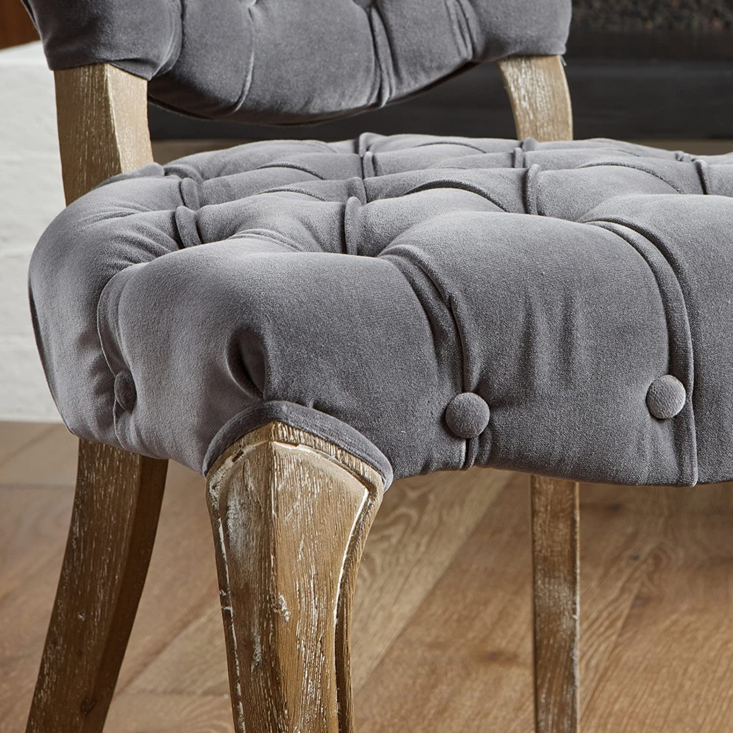 Amazon Best Selling Lane Tufted Fabric Dining Chair Grey