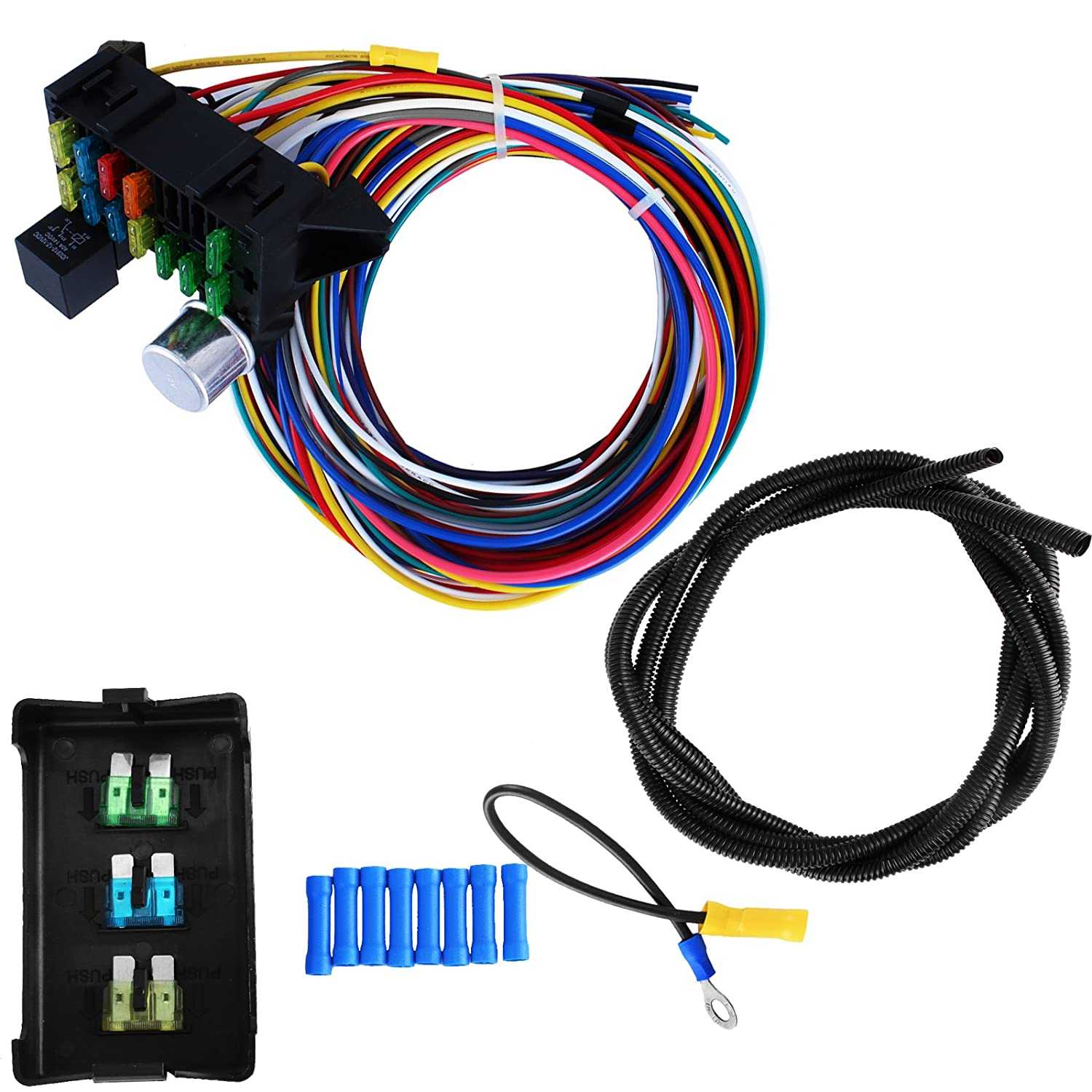 amazon com: lovshare 12 circuit universal wire harness fuse box wire harness  kit muscle car hot rod street rod new xl wires: health & personal care