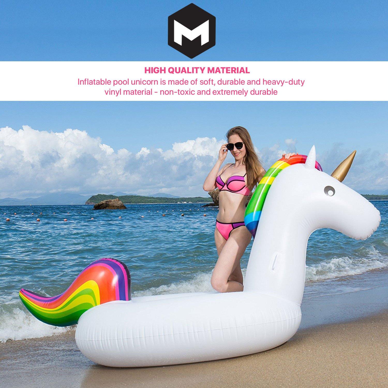 Flotador Unicornio Gigante para Piscina - Colchoneta Inflable Grande para Piscina Playa Exteriores para Adultos y Niños con Capacidad para 2 o 3 Personas ...