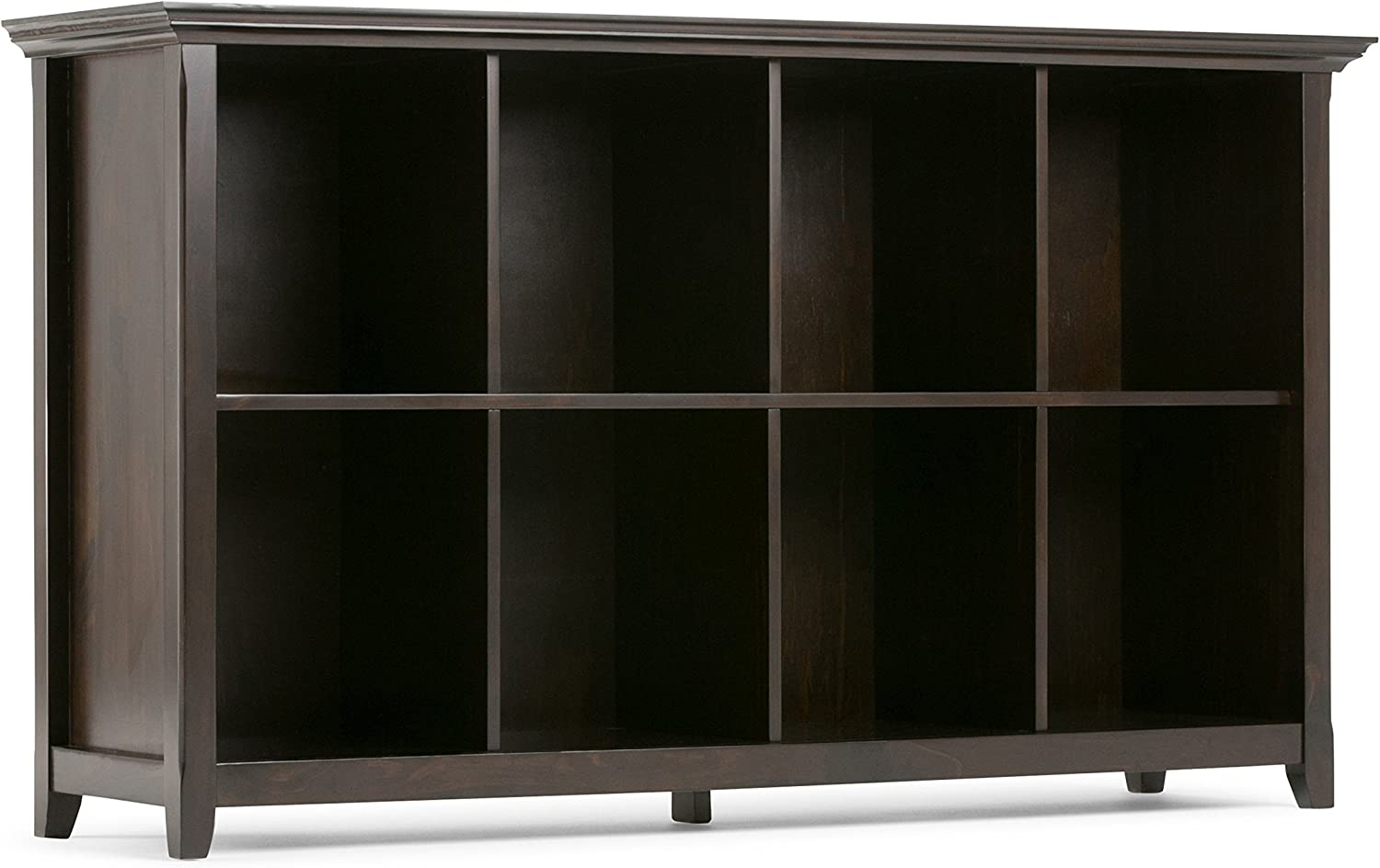 Simpli Home AXCAMH-005 Amherst Solid Wood 57 inch Wide Transitional 8 Cube Bookcase Storage Sofa Table in Dark Brown