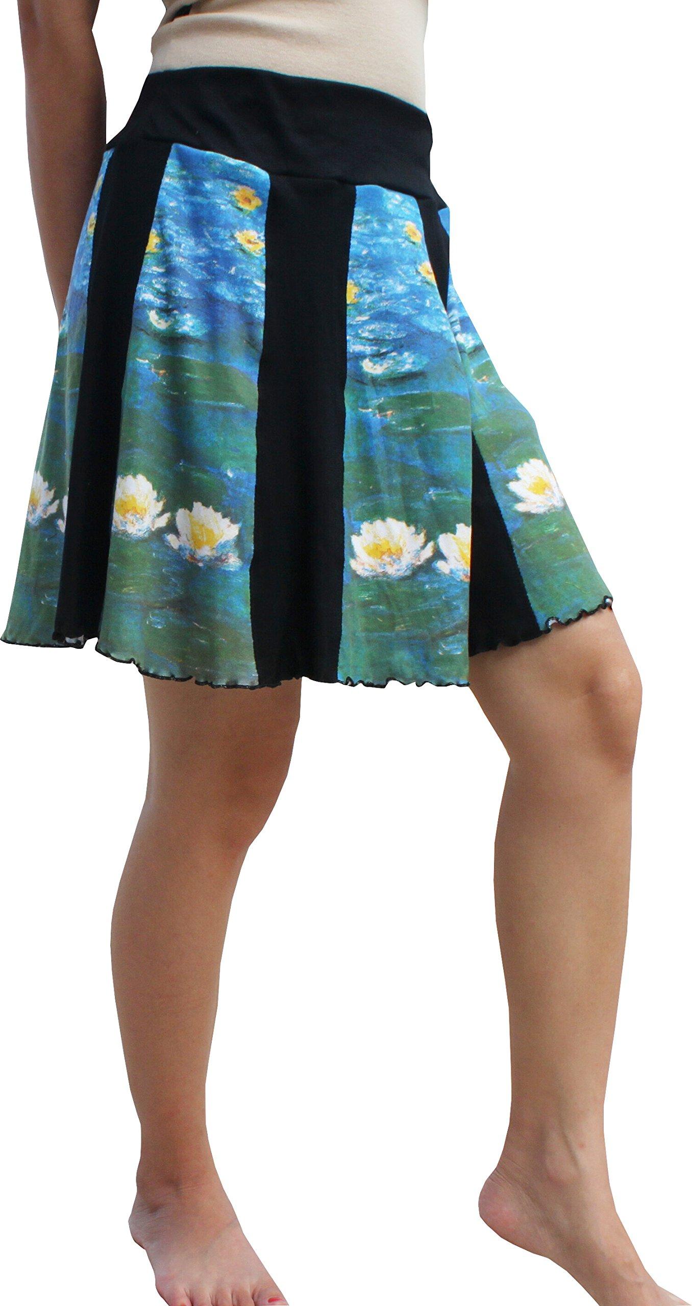 RaanPahMuang Water Lilies Fine Art by Claude Monet Panel Mini Skirt, X-Large