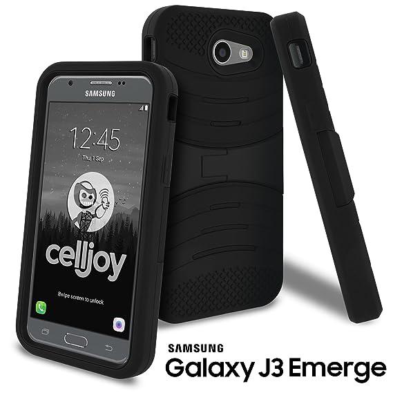 Galaxy J3 Emerge Case, Galaxy J3 2017 Case, CellJoy [EXO Armor] Kickstand  Dual Layer Hybrid [Heavy Duty] ((Shockproof)) {Rugged Grip Skin} Premium