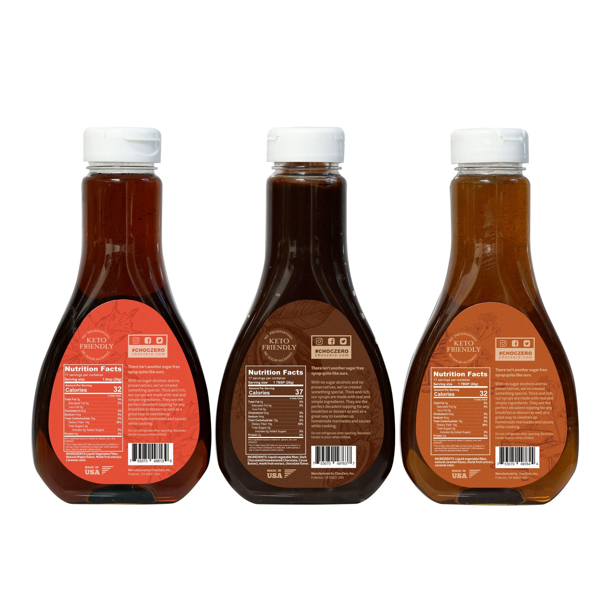 ChocZero Syrup Variety Pack. Sugar-free, Low Carb, No Preservatives. Thick and Rich. No Sugar Alcohol, Gluten-Free. 3 Bottles (Chocolate, Caramel, Maple) by ChocZero (Image #2)