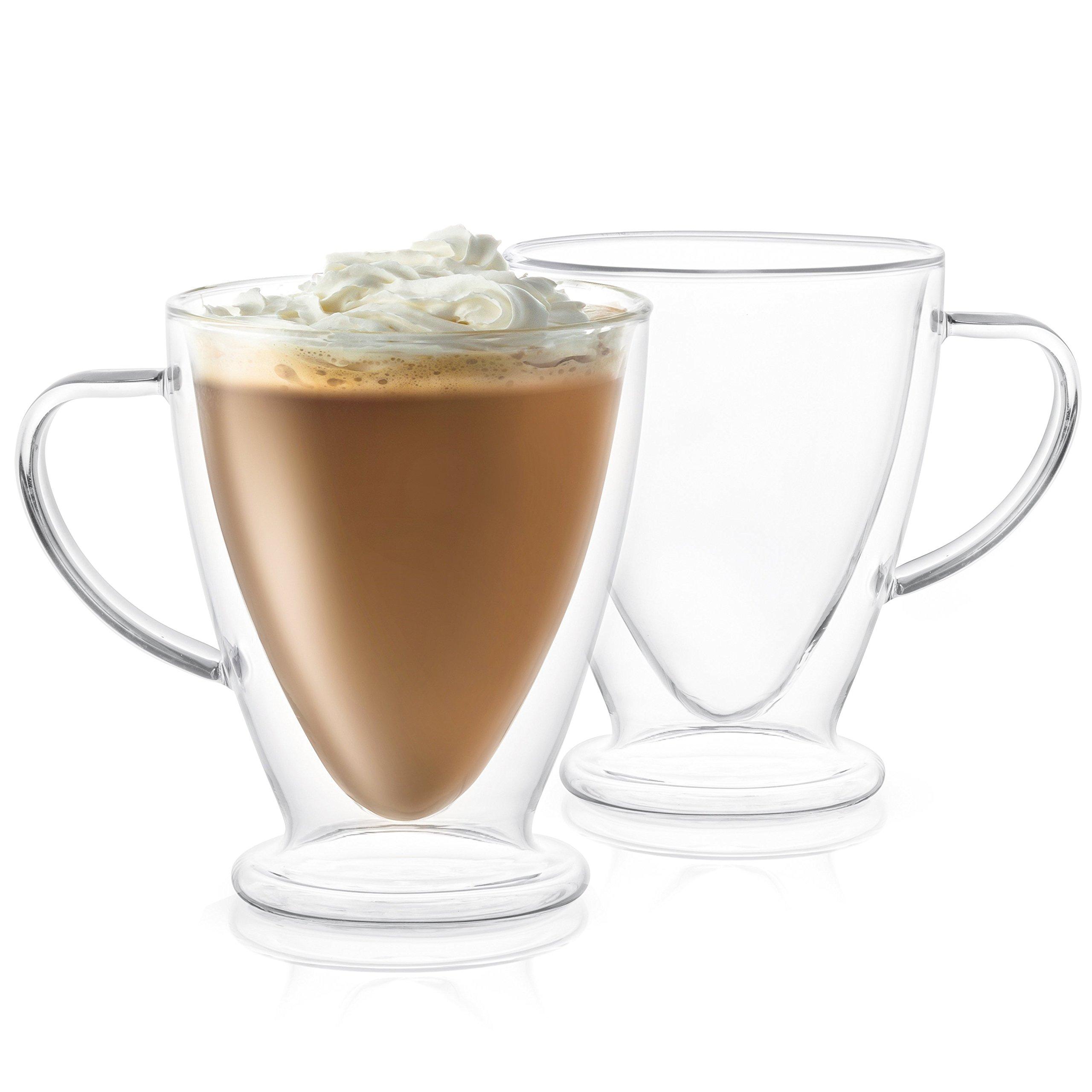 JoyJolt Declan Irish Glass Coffee Cups Double Wall Insulated Mugs Set of 2 Latte Glasses, 15-Ounces.
