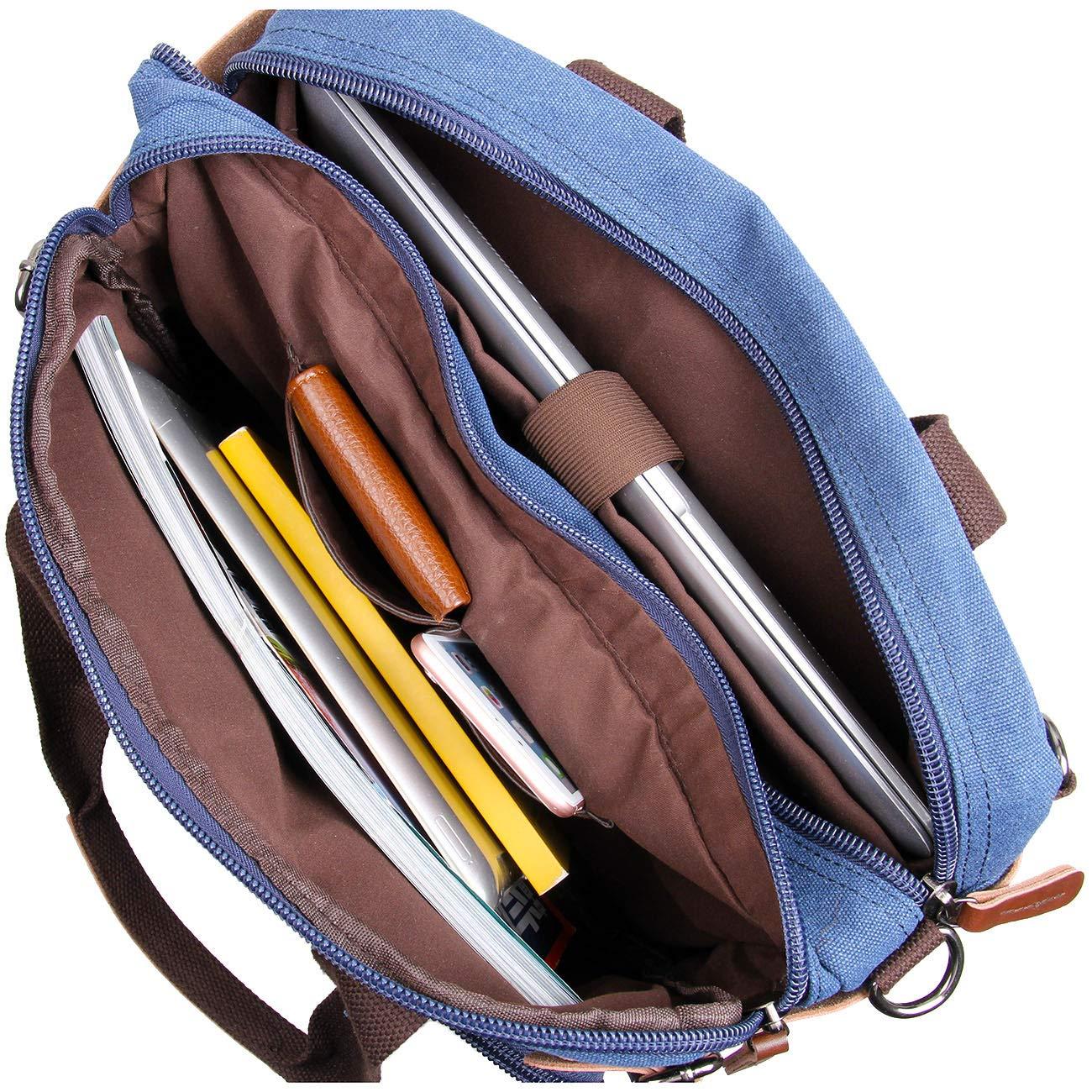 Clean Vintage Laptop Bag Hybrid Backpack Messenger Bag/Convertible Briefcase Backpack Satchel for Men Women- BookBag Rucksack Daypack-Waxed Canvas Leather, Blue by Clean Vintage (Image #6)