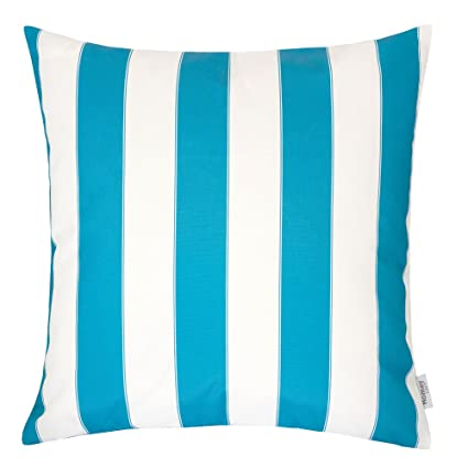 Fine Homey Cozy Outdoor Throw Pillow Cover Classic Stripe Aqua Blue Large Pillow Cushion Water Uv Fade Stain Resistance For Patio Lawn Couch Sofa Lounge Cjindustries Chair Design For Home Cjindustriesco
