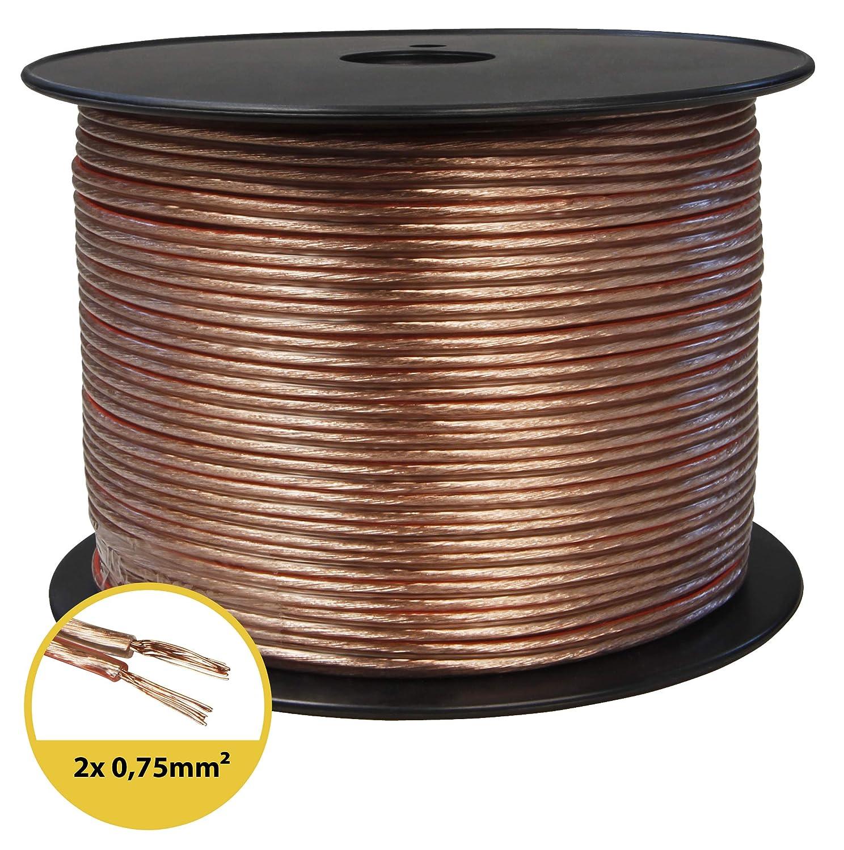 toolcity Cable de Altavoz 2/x 2,50/mm/² Zwilling Litz Transparente Box Cable Cable de audio//30/m