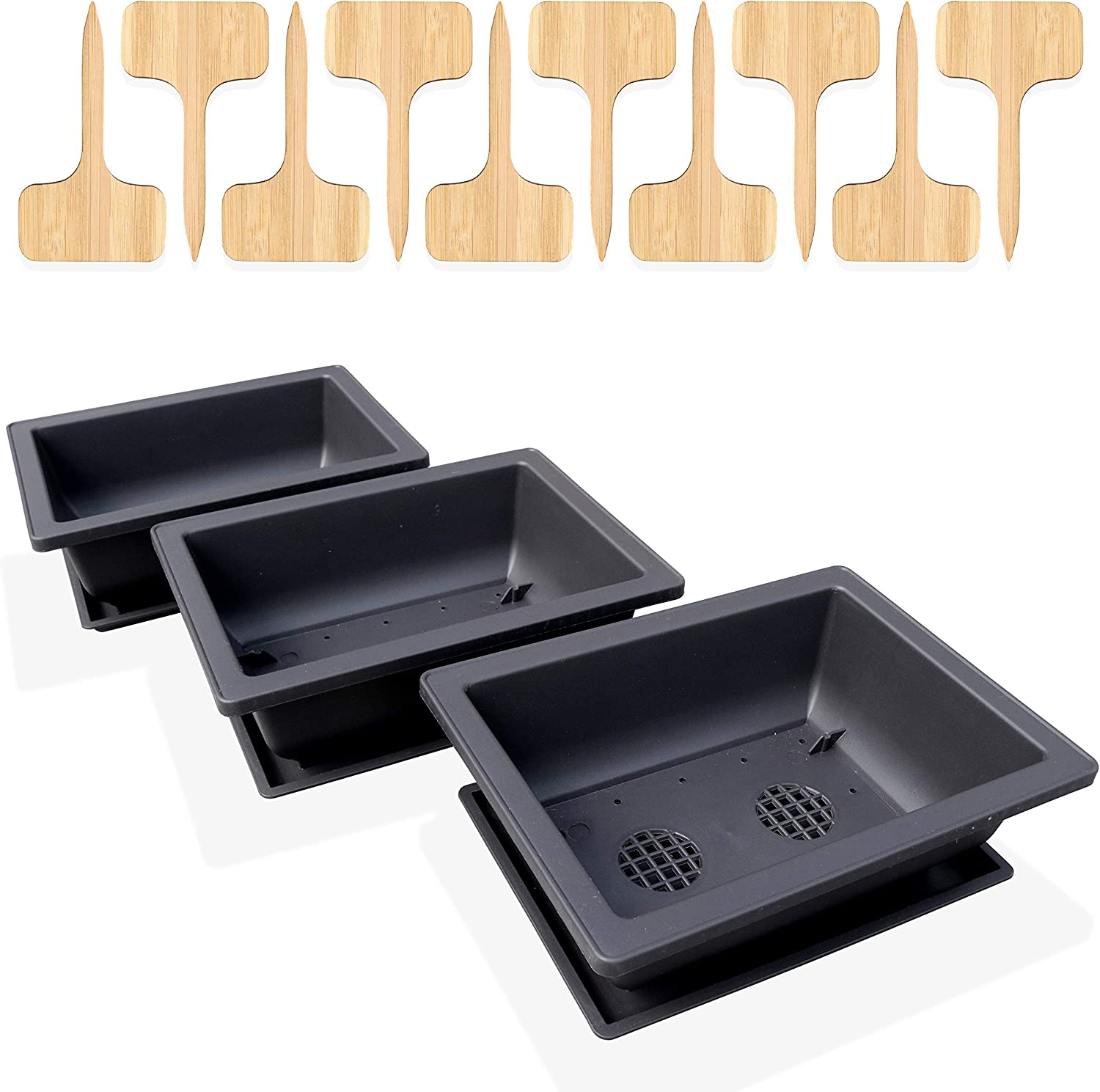 GENIELY 3 Pack of 8-Inch Bonsai Training Pots with 3 Humidity Trays and Built-in Drainage Mesh - Heavy Duty Shatterproof Poly-Resin Plastic - Complete with 10 Bamboo Plant Labels