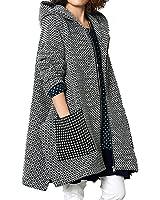 Olrain Women's Winter Jacket Checked Hooded Parka Coats with Pockets