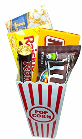 Amazon Com Movie Night Popcorn And Candy Gift Basket Includes Movie Theater Butter Popcorn And Concession Stand Candy Milk Duds Grocery Gourmet Food