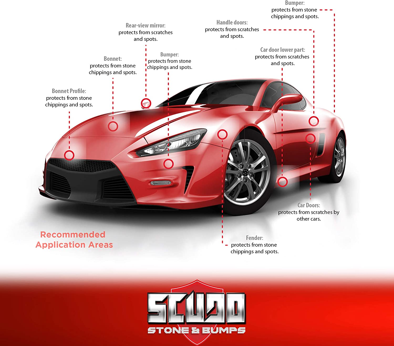 Thickness 0.3 mm Quattroerre Adhesive Film Scudo for Body Car Protection 16 cm x 3 mt Transparent