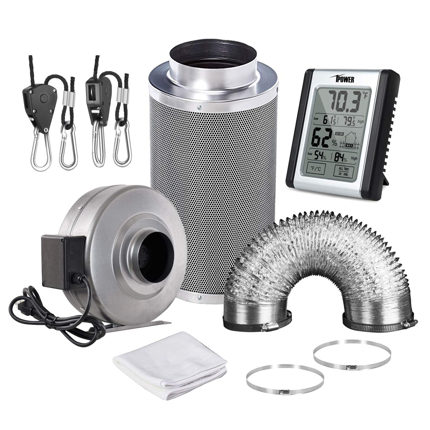 iPower GLFANXSETINLINE6D25RH 6 Inch 442 CFM Inline Fan Carbon Filter 25 Feet Ducting Combo with Humidity Monitor Grow Tent Ventilation, Grey by iPower