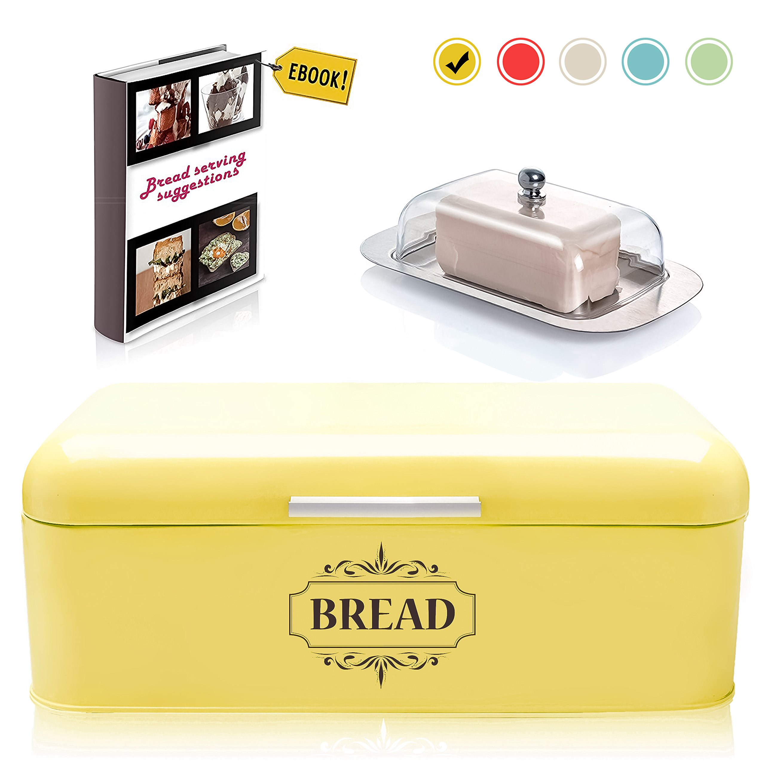 Vintage Bread Box For Kitchen Stainless Steel Metal in Retro Yellow + FREE Butter Dish + FREE Bread Serving Suggestions eBook 16.5'' x 9'' x 6.5'' Large Bread Bin storage by All-Green Products