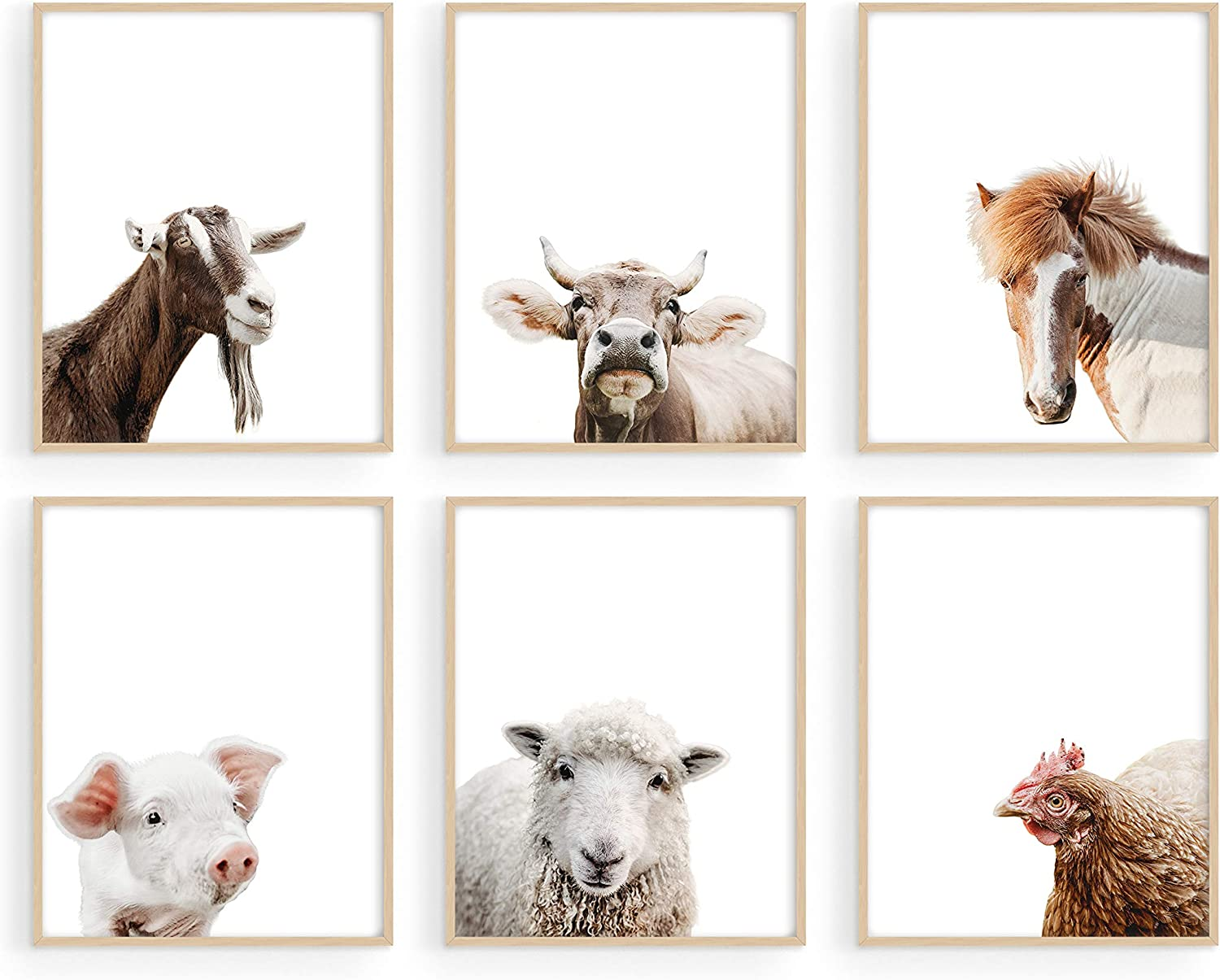 """Haus and Hues Rustic Farm Animal Pictures Set of 6 - Farmhouse Wall Art and Country Pictures for Kitchen Walls 