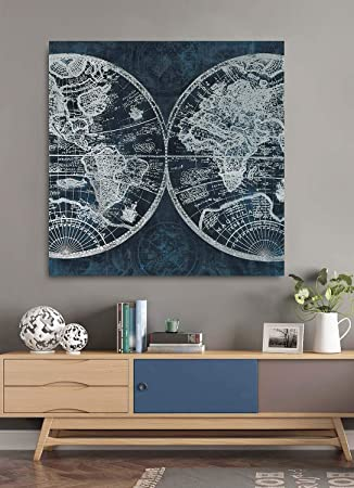 Fox Art Oil Painting on Canvas Global World Maps Indigo Navy Blue Canvas Prints Paintings with Silver Metallic Foil Wall Decor for Living Room Offiie Stretched and Framed Ready to Hang 32x32Inch