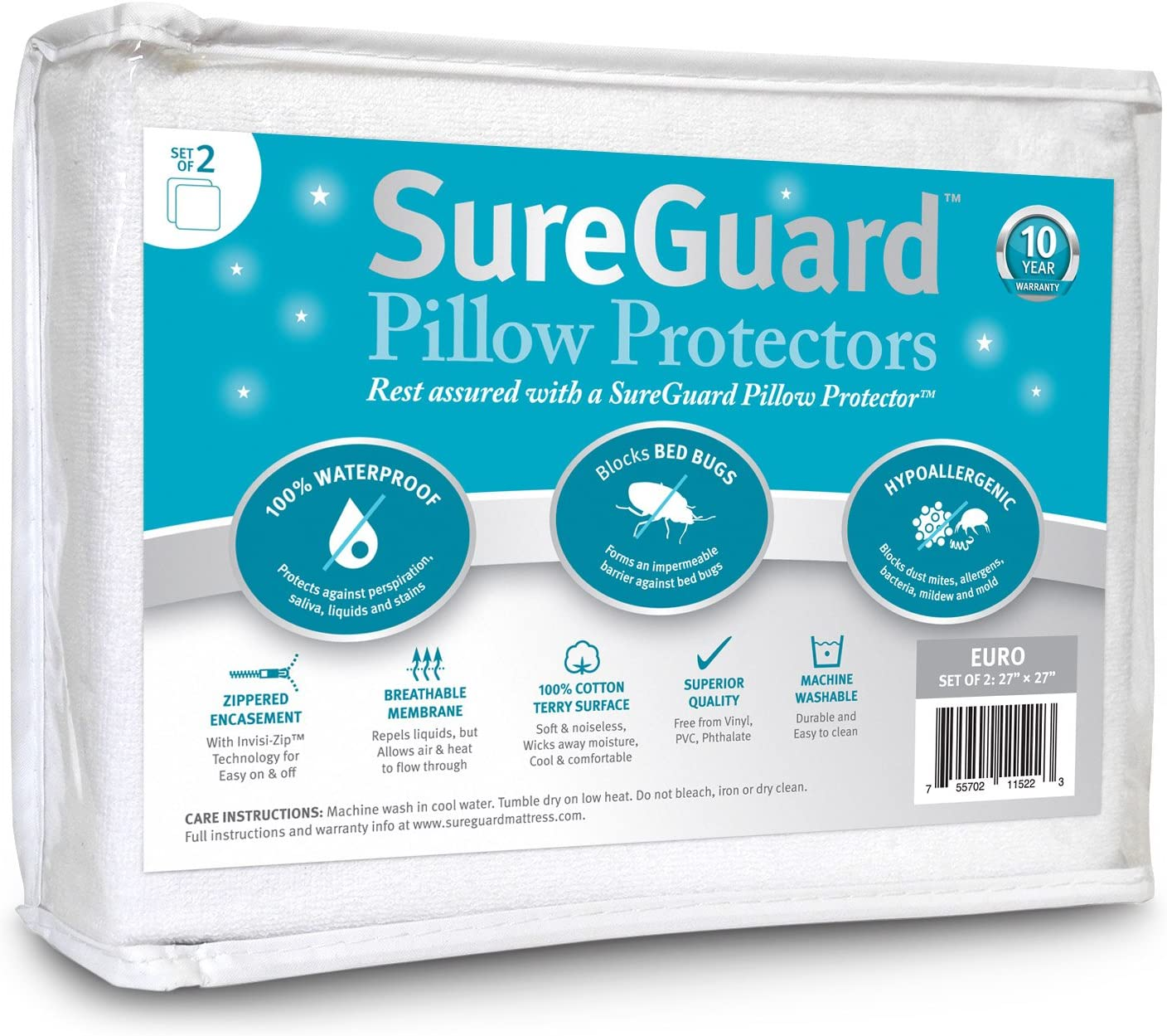 Waterproof Terry Pillow Protector Zip Cover Pair 100/% Cotton Non Allergic Soft