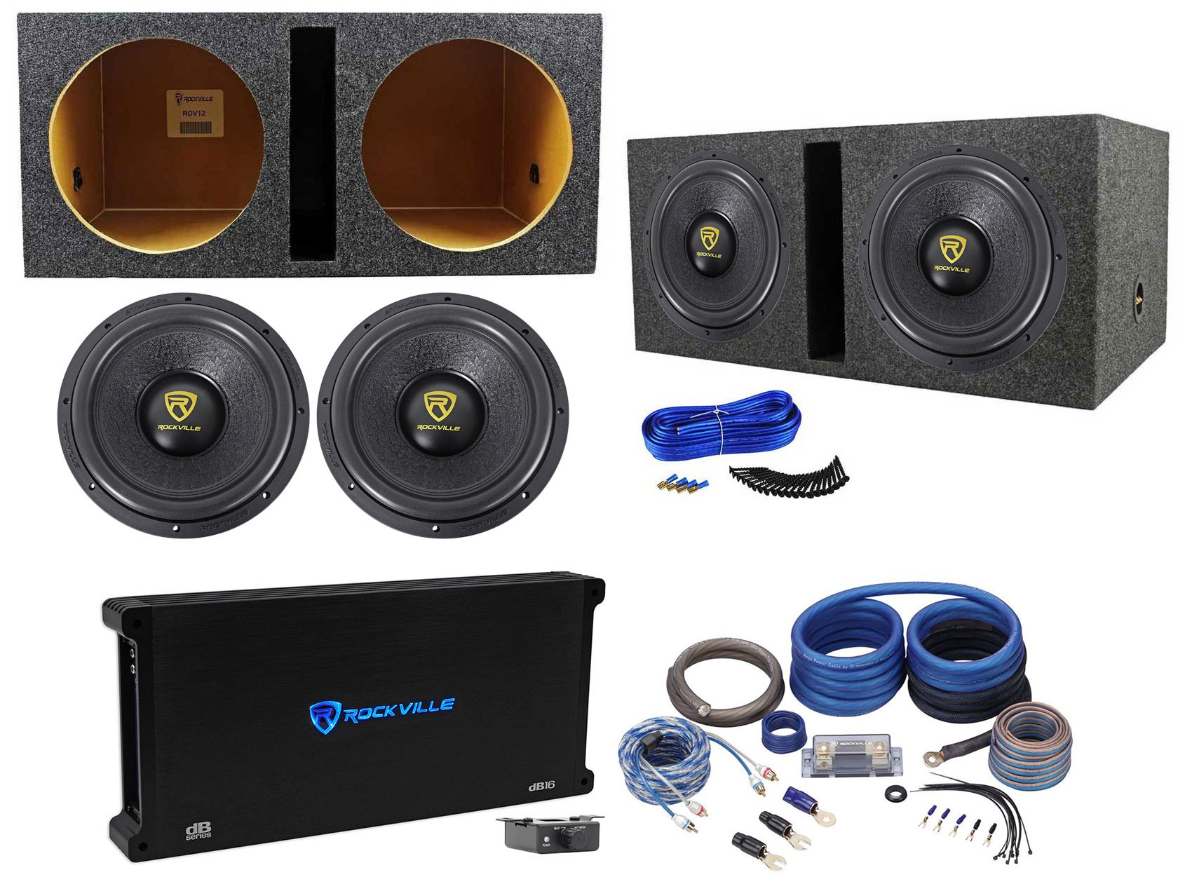(2) Rockville W12K9D2 12'' 8000w Subwoofers+Vented Sub Box+Mono Amplifier+Amp Kit