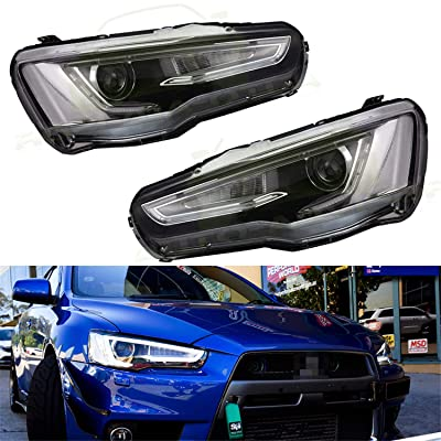 JDMSPEED New LED DRL Headlights Headlamp Replacement For Mitsubishi Lancer EVO 2008-2020 Audi A5 Style: Automotive