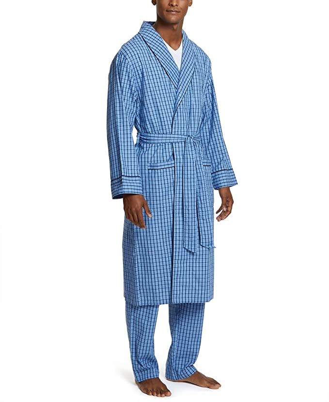 Nautica Men's Long Sleeve Lightweight Cotton Woven Robe, French Blue, Large/X-Large best men's bath robes